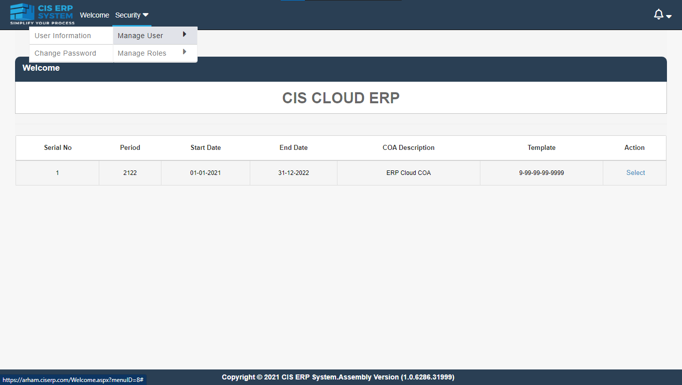 welcome page of cis erp system to manage users